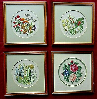 4 Finished Vintage Cross Stitch Pictures - The Seasons Complete with Frames