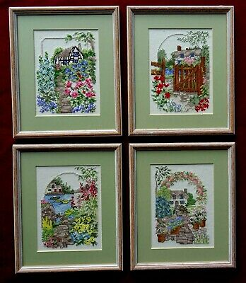 4 Finished Vintage Cross Stitch Pictures - Cottages Complete with Frames