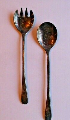 Vintage Silverplate Italy Serving Salad Spoon and Fork Set Fruits