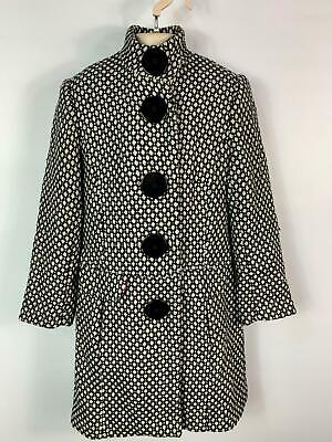 Girls Derky Kids Black&White Pattern Long Winter Over Coat Kids Size 9/10 Years
