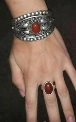 ANTIQUE Ancient Victorian Silver Bracelet Bangle Cuff Beautiful Ruby Stones+RING