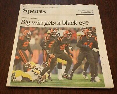 CLEVELAND BROWNS VS PITTSBURGH STEELERS - CLEVELAND PD NEWSPAPER 11/15//2019 New