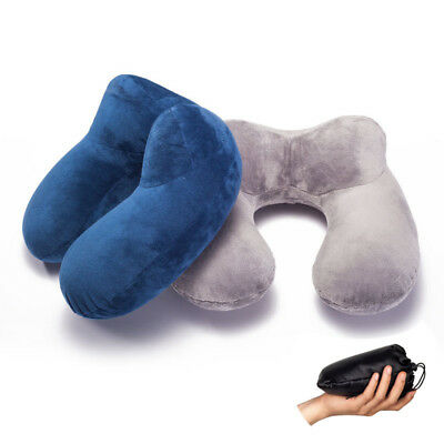 Portable Soft Inflatable U-Shaped Travel Pillow Neck Head Support Cushion,