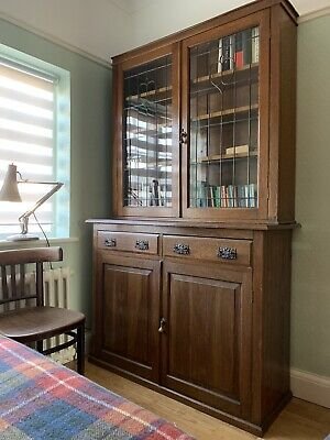 Vintage Antique Oak Glazed Bookcase Cabinet