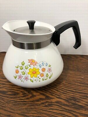 Vintage Corning Ware Rare Spring Meadow Pattern 6 Cup Tea Pot P-104