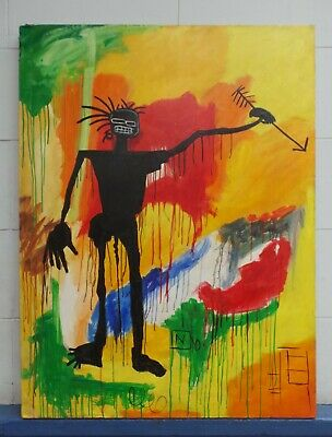 Amazing Painting By Jean-Michel Basquiat Acrylic On Canvas 1984 Untitled Large
