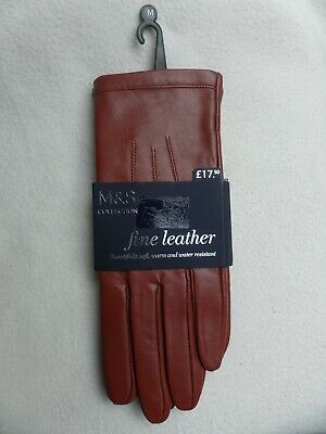 NWT Ladies Marks And Spencer Fine Leather Gloves - Russet/ Brown - Size M