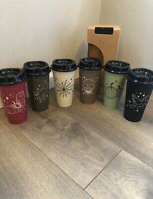 Starbucks Fall 2019 Halloween - 6 Reusable Hot Cups Limited Edition 16 Oz. Skull
