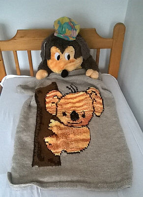 Hand Knitted baby blanket / children quilt with coala-bear