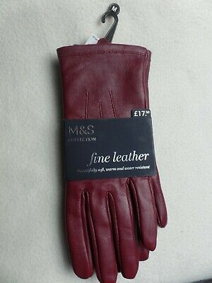 NWT Ladies Marks And Spencer Leather Gloves - Raspberry - dark red / brown - M