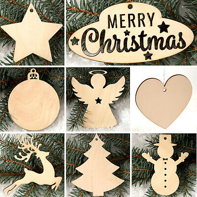 30 pcs Christmas Wooden Shapes MDF Heart Star Snowman Angel Embellishments Blank