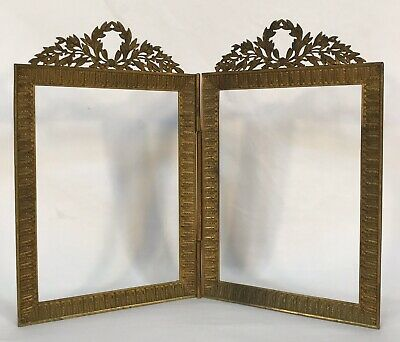 Antique French Ormolu Gold Gilt Bronze Brass Double Frame 4 1/8 x 5 5/8 Openings