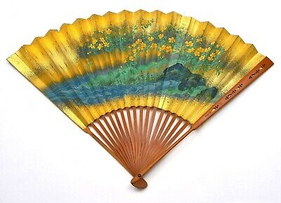1930's Japanese Hand Painted Painting Bamboo Wood Fan Gold Ground Flower Blossom