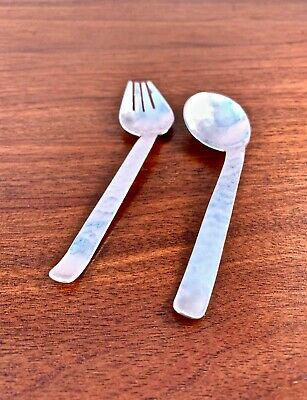 Hand Hammered Arts & Crafts Sterling Silver Baby Set: Spoon & Fork, No Monogram