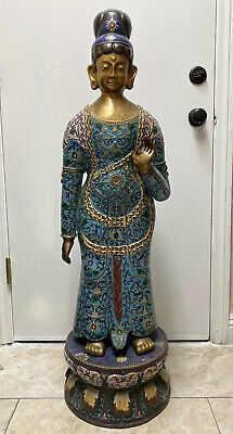 Very Fine Huge Antique Chinese Cloisonne Buddha Statue