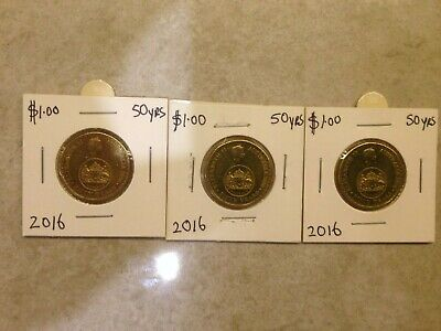 2016 $1 50yrs changeover coin x 3  very low mintage