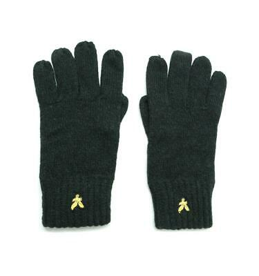 Lyle & Scott Mouline Black Everyday Gloves for Men Woollen Blend Wrist Length