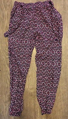 Primark Red Black White Patterned Elasticated Ankle Trousers Age 7-8 Years