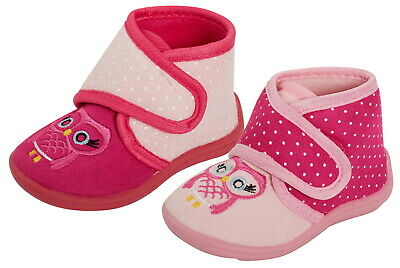 Girls Pink Owl Bootie Slippers Infant Toddlers Novelty Easy Fasten Slipper Boots