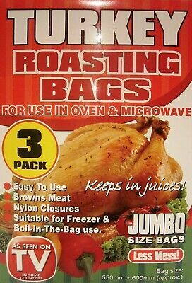 3 Pack Jumbo Size Turkey Roasting Bags Oven Microwave Cooking Meat Chicken Fish