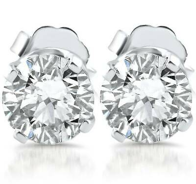 E/SI 1ct Diamond Studs 14k White Gold Clarity Enhanced