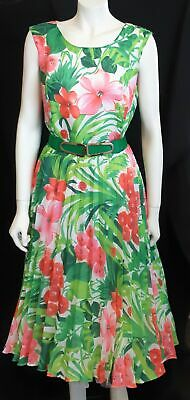 Sun-ray Pleat floral Polyester 1960's day dress by 'Daniela Exquist' size 14
