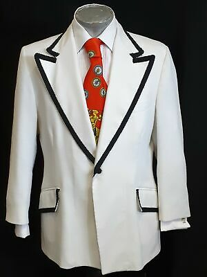 Dinner jacket white with black trim, 1960's, USA, Polyester/cotton, size XL