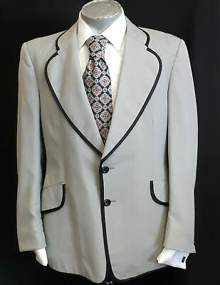 Dinner Jacket, grey with black trim, 1960's by 'Kentish' David Jones, gaberdi...