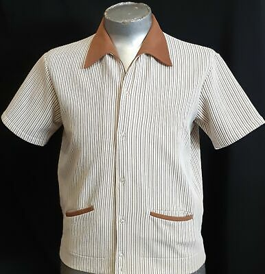 Bowling shirt, Crimplene by 'Bisley', coffee/ cream striped 1960's, size S