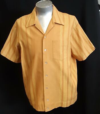 Bowling shirt, Cotton, Mustard print, USA by 'Gloster' 1960's, size 2XL
