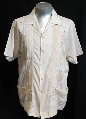 Guayabera, Cream, polyester/cotton, By 'Guaya-teca' Mexico, size 2XLL