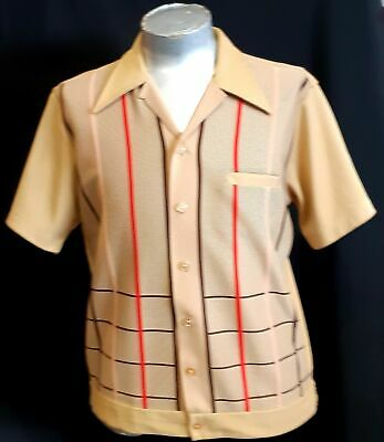 Bowling Shirt, Light tan with red & brown front pattern, Polyester, 1960's, s...
