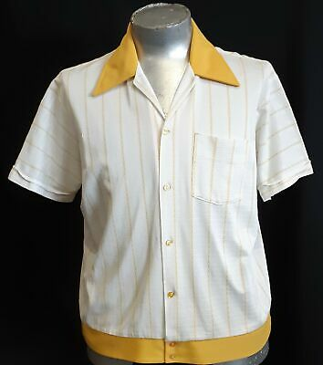 Bowling shirt. 1950's, USA, white/ yellow all over stripe, Polyester, size 2XL