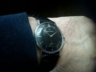 Vintage Gent's Swiss Movado Black Sub Dial 15 Jewel's Over Size Watch Imma.cond