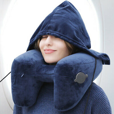 Inflatable Travel Neck Rest Pillow Hooded Neck Cushion Support with Face Cover