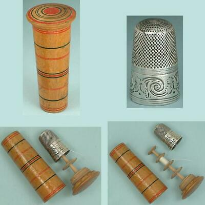 Early Antique Painted Tunbridge Ware Sewing Kit * C1800* Sterling Silver Thimble