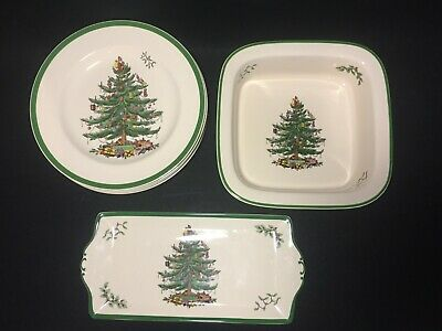 """SPODE """"Christmas Tree"""" Salad Bread Specialty Green White Red Holiday  England"""