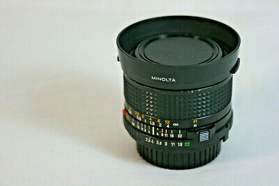 Minolta 28mm F2.8 MD Photography Camera Lens VGC with Hood, Caps Made in Japan