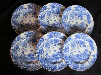 Royal Crown Derby Blue Aves A1309 Pattern 6 x Salad Plates 8.5 inches