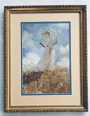 Fabulous Print Painting A Lady With Parasol By Claude Monet With Gold Framed