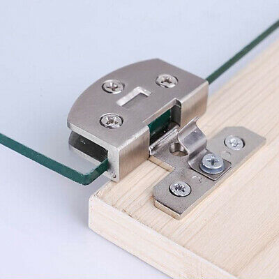 No Drilling Glass Door Hinges Cupboard Cabinet Gate Clamp Furniture Accessories