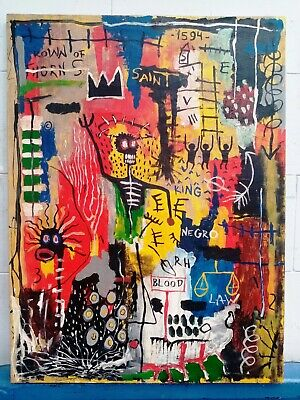 Amazing Painting By Jean-Michel Basquiat Acrylic On Canvas 1981 Untitled