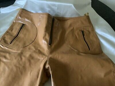 Vintage Leather Trousers By windsor Size 14 Light Tan. Mid Rise.