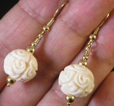 Fancy Hand Carved White Earrings Intricate Detail large bead 15mm Gold Pltd