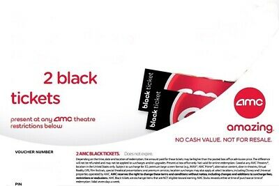 AMC Theatres 2 (Two) Black Tickets Movie E-Tickets Fast Delivery no expiration