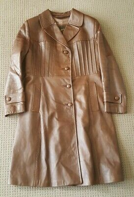 Long Brown Leather Coat. Ladies Size M. Vintage. By Antelope Of Melbourne.