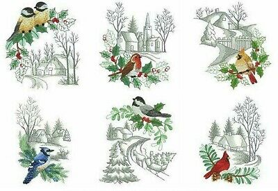 Winter For The Birds 10 Quilt Blocks Embroidered Beautiful