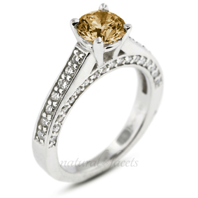 1.94ct Brown VS2 Round Natural Certified Diamonds Plat Classic Engagement Ring