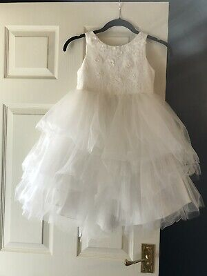 Girls Monsoon White Occassion Tutu Style Dress 7 Years With Lace & Flowers