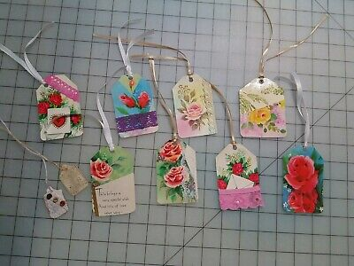10 Handmade Junk Journal Tags, Embellishments Floral
